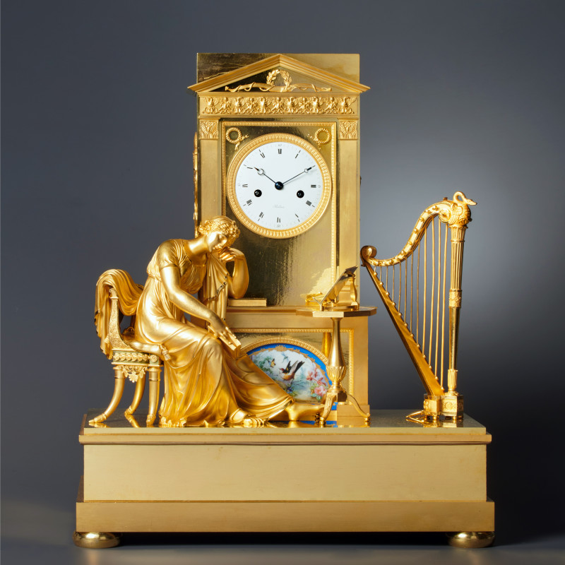 Boileau - An Empire figural mantel clock by Boileau , Paris, date circa 1810