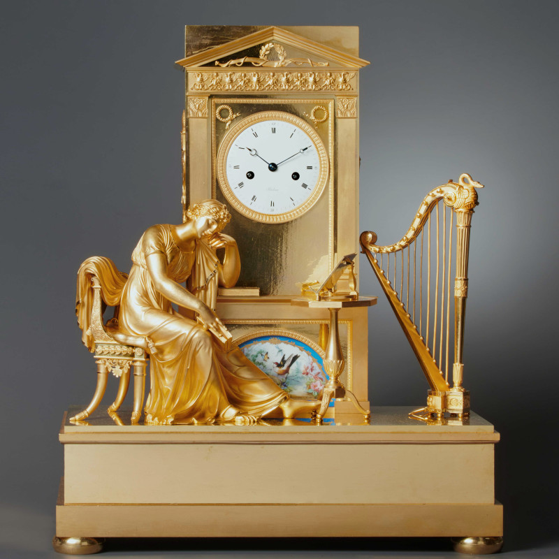 Boileau - An Empire figural mantel clock by Boileau , Paris, date circa 1810