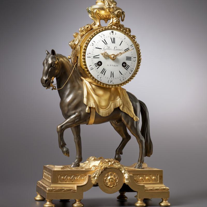 Gille L'aine - A Louis XVI miniature pendule 'au cheval' by Gille L'aine, case by François Vion, Paris, date circa 1770