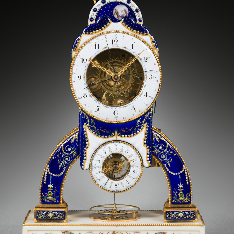 Julien Béliard - A late 18 th Century striking skeleton clock with Revolutionary time and remontoire by Julien Beliard, the enamels by Joseph Coteau, Paris, date 1794