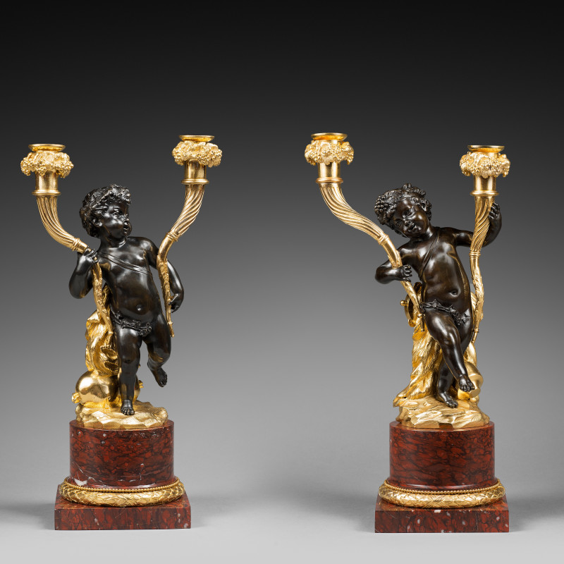 Clodion (attributed to) - A pair of Louis XVI figural candelabra, attributed to Clodion, Paris, date circa 1780