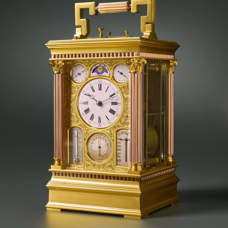 Victorien Boseet - A French grande sonnerie, calendar, moon phase, thermometer and barometer and fly-back carriage clock by Victorien Boseet (VB) , Paris, date circa 1878