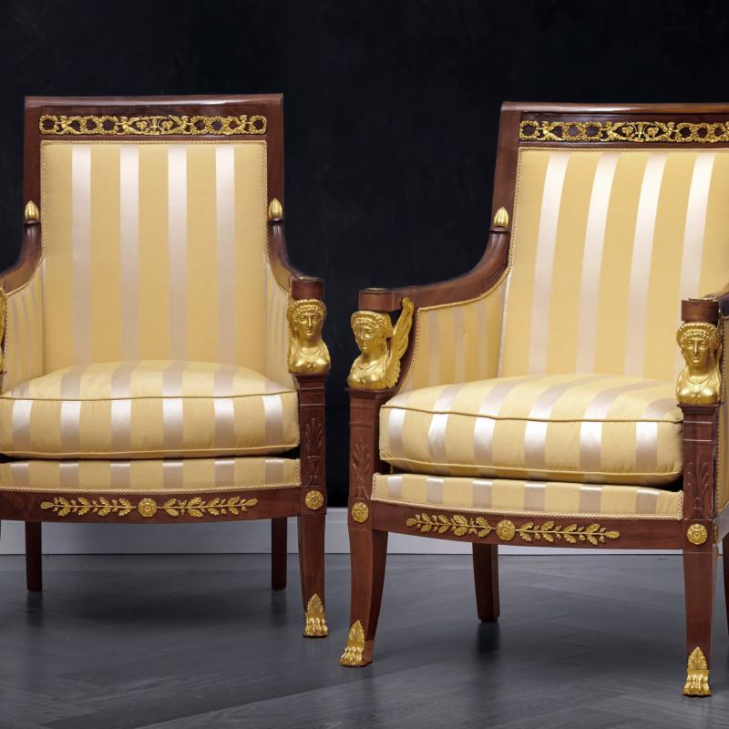 Etienne-François Quenne - A suite of Restauration seating furniture, containing a pair of bergères, a set of 6 fauteuils and a canapé by Etienne-François Quenne, Paris, date circa 1825