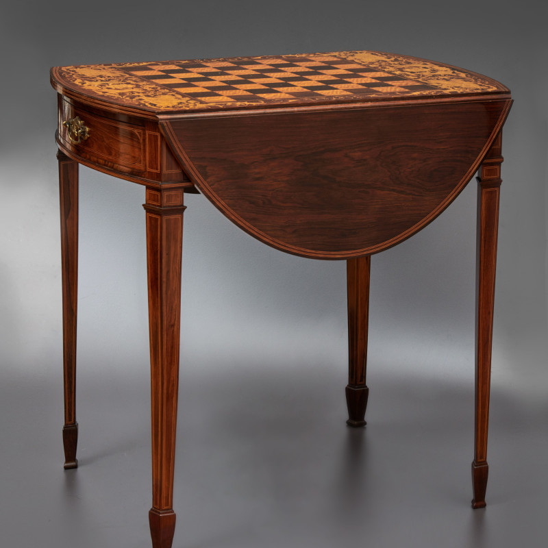 Collinson & Lock - A 19th Century inlaid chess table by Collinson & Lock, London, date circa 1890