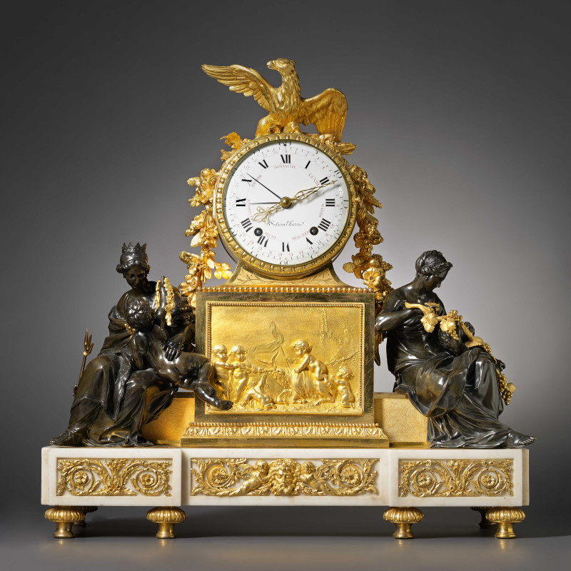 Renacle-Nicolas Sotiau - A Louis XVI gilt and patinated bronze and white marble mantel clock by Renacle-Nicolas Sotiau, Paris, date circa 1785