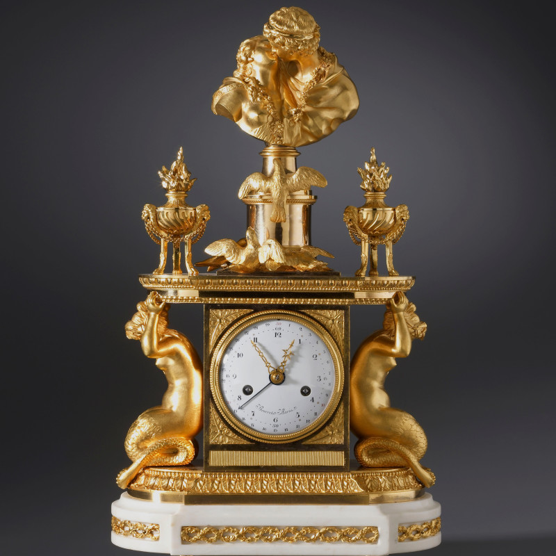Noël Bourret - A late eighteenth century figural mantel clock of eight day duration by Noël Bourret, Paris, date circa 1785-95