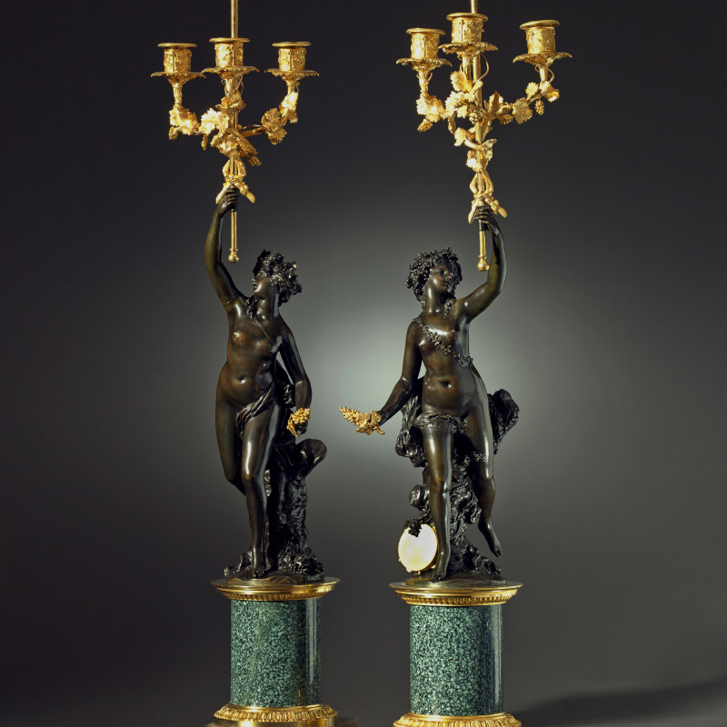 Joseph-Charles Marin (after) - A pair of Louis XVI three-light figural candelabra after a model attributed to Joseph-Charles Marin, Paris, date circa 1790