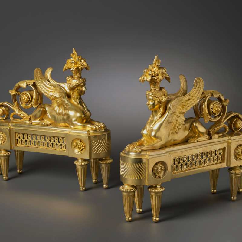 François-Joseph Bélanger (after) - A pair of Louis XVI chenets almost certainly after a design by François-Joseph Bélanger, Paris, date 1780