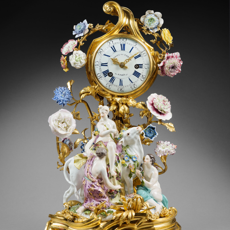"Gérard Benoît - A Louis XV mantel clock ""Europa and the Bull"" by Gérard Benoît, The porcelain: Meissen, date circa 1750. The gilt bronze: Paris, date circa 1750"