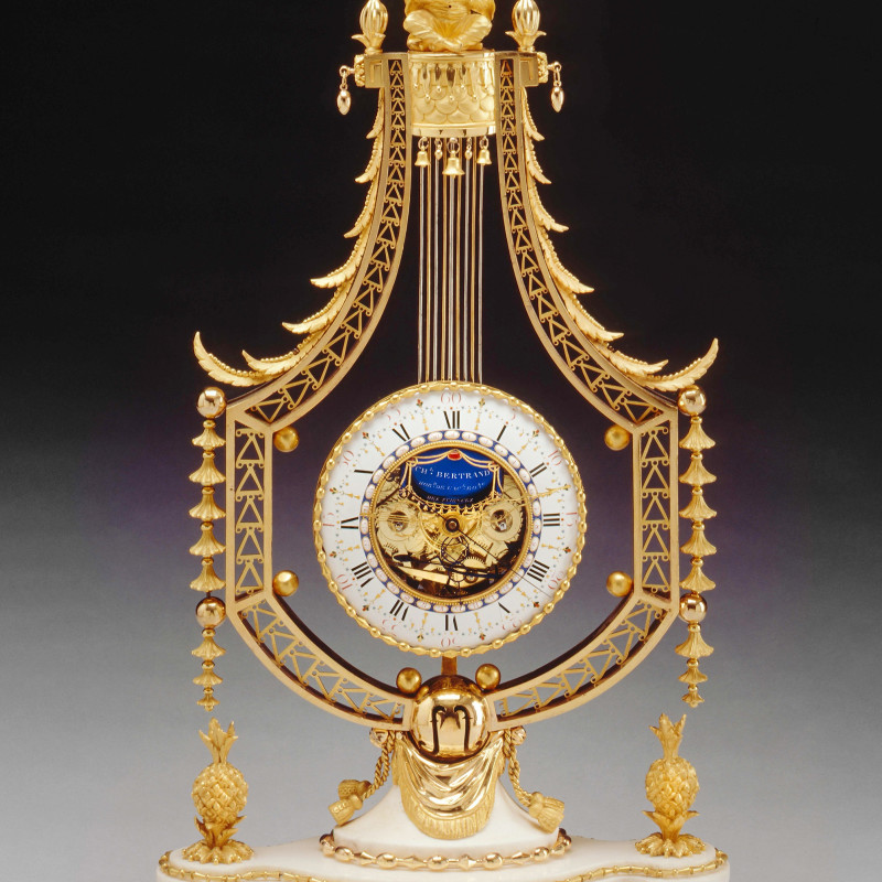 Joseph-Charles-Paul Bertrand - A Louis XVI figural lyre clock of eight day duration by Joseph-Charles-Paul Bertrand, Paris, date circa 1785