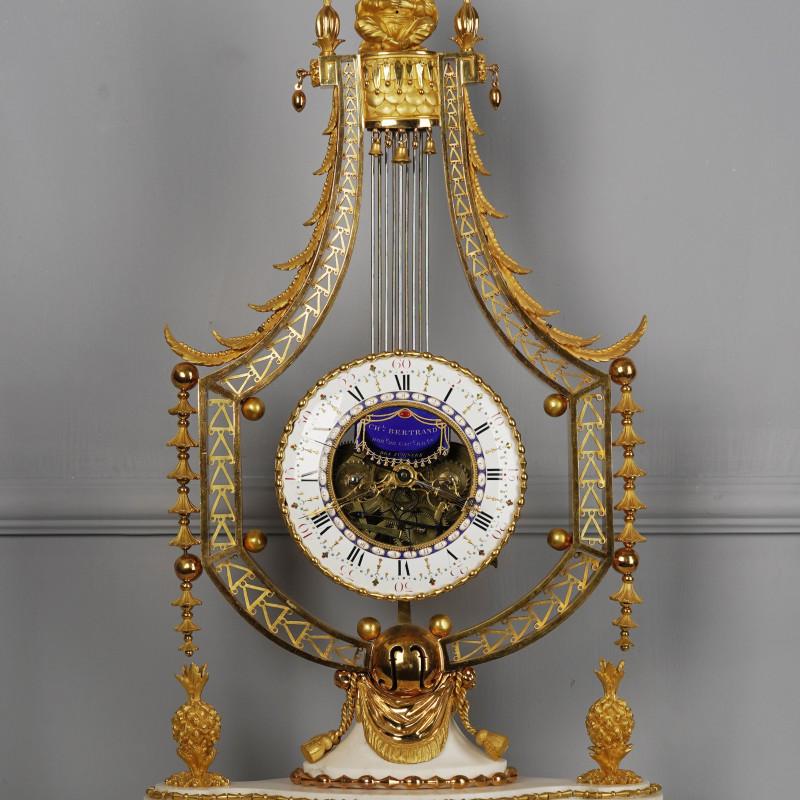 Joseph-Charles-Paul Bertrand - A Louis XVI figural lyre clock of eight day duration by Joseph-Charles-Paul Bertrand, Paris, date circa 1785