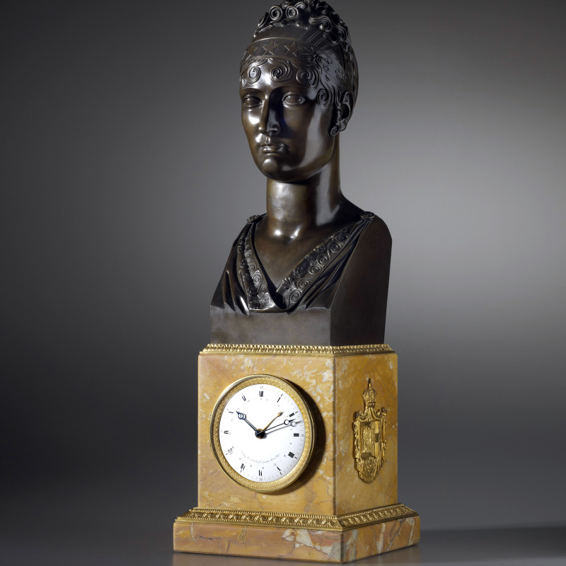 Basile-Charles Le Roy - An Empire mantel clock with movement by Basile-Charles Le Roy and bronze bust by Jacques-Edmé Dumont, Paris, dated 1810
