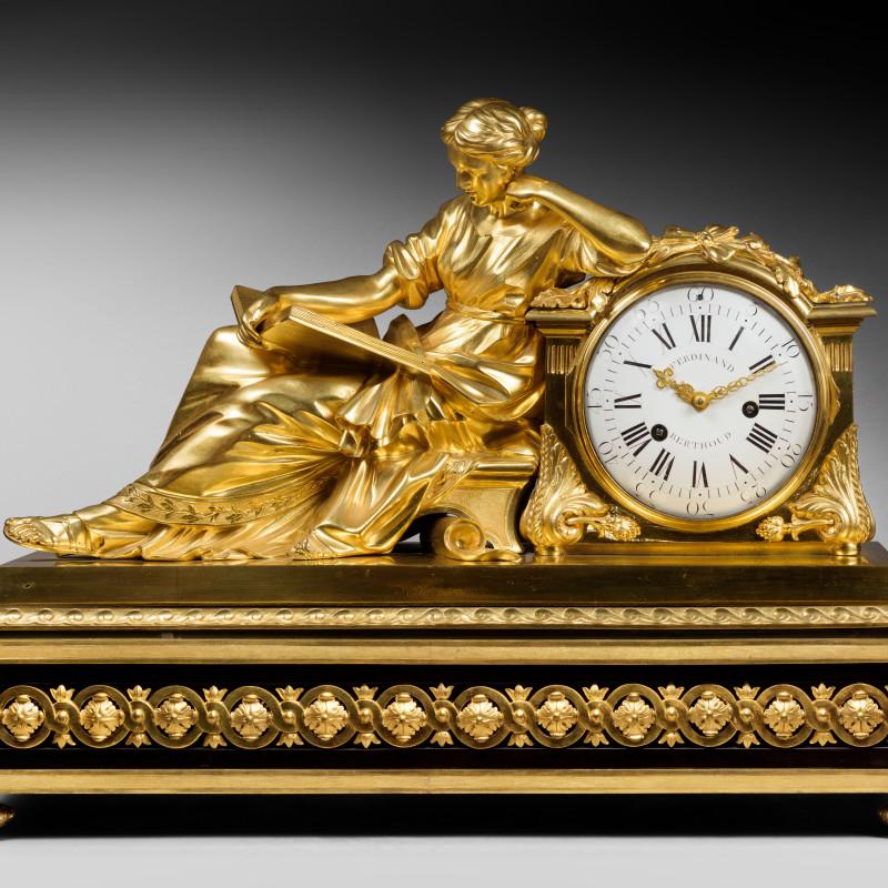 "Ferdinand Berthoud - A Louis XVI mantel pendule ""à la Geoffrin"", by Ferdinand Berthoud, case attributed to Edme Roy, base by Balthazar Lieutaud, Paris, date circa 1770"