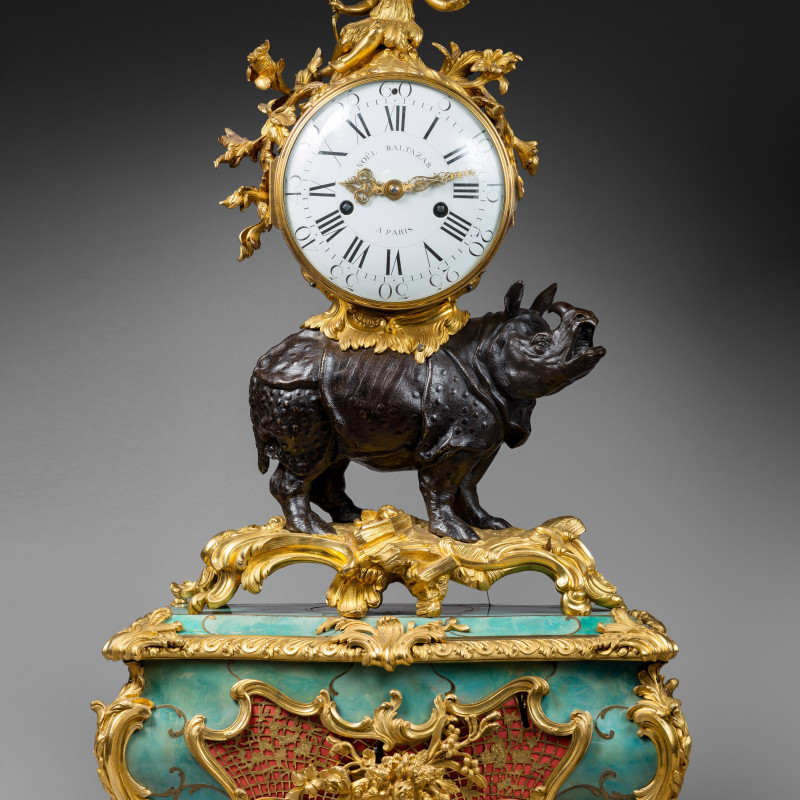 Noël Baltazar - A Louis XV 'Pendule au Rhinoceros' by Noel Baltazar, the musical movement by Viger, case by Jean-Joseph de Saint-Germain, Paris, date circa 1755