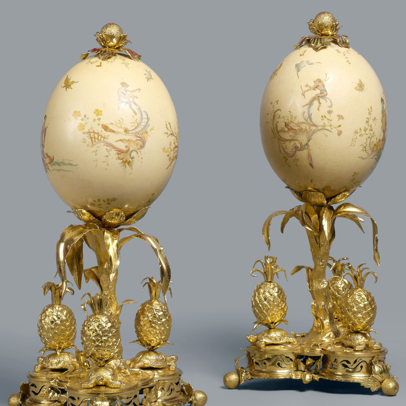 Lebel (attributed) - A pair of Louis XV ostrich eggs attributed to Lebel, Paris, date circa 1760