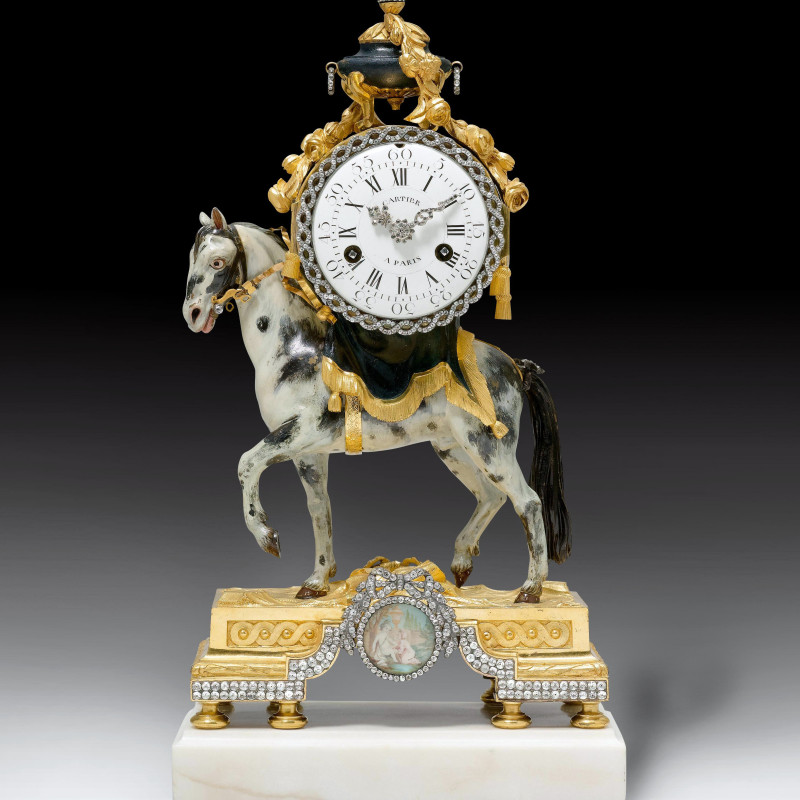 Bernard Cartier - A Louis XVI miniature pendule 'au cheval' by Bernard Cartier, the case by François Vion, Paris, date circa 1770