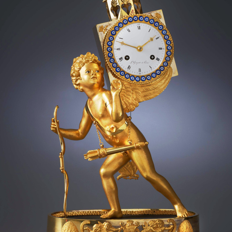 L. Grognot - An Empire mantel clock 'à la lanterne magique' , by L. Grognot, Paris, date circa 1800