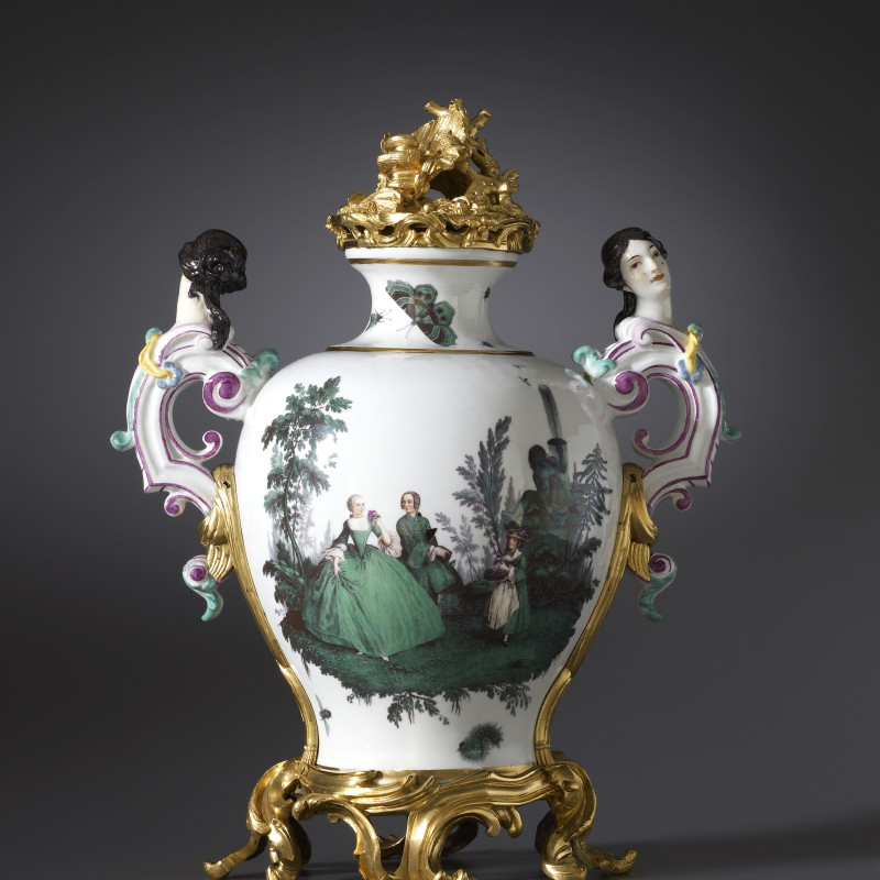 Meissen - A Louis XV vase by Meissen, almost certainly modelled by Johann Joachim Kändler , The porcelain: Meissen, date circa 1747. The gilt bronze mounts: Paris, date circa 1750