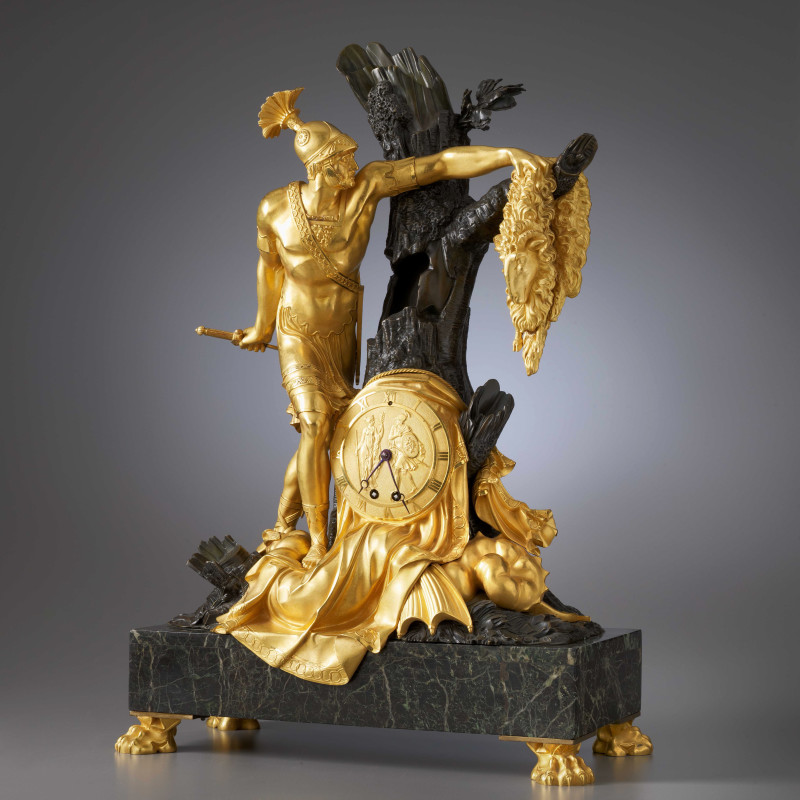 Pierre-François Feuchère (attributed to) - An Empire mantel clock with case representing Jason and the Golden Fleece attributed to Pierre-François Feuchère, Paris, date circa 1810
