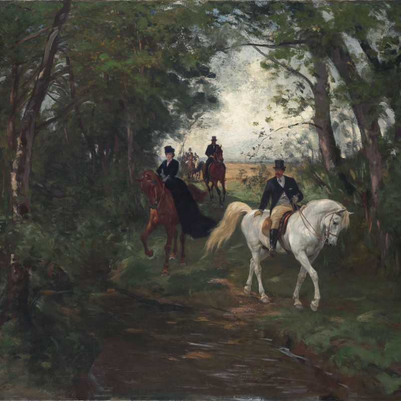 "Rudolf Koller - ""Spazierritt am Waldrand"" by Rudolf Koller"