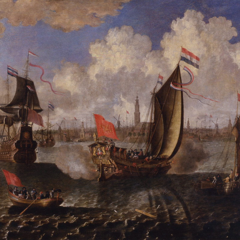 Abraham Storck (attributed to) - A State Visit, Probably of King Charles II of England to the City of Rotterdam and Antwerp, Attributed to either Abraham Storck or Jan Baptist Bonnecroy, Date circa 1650-70