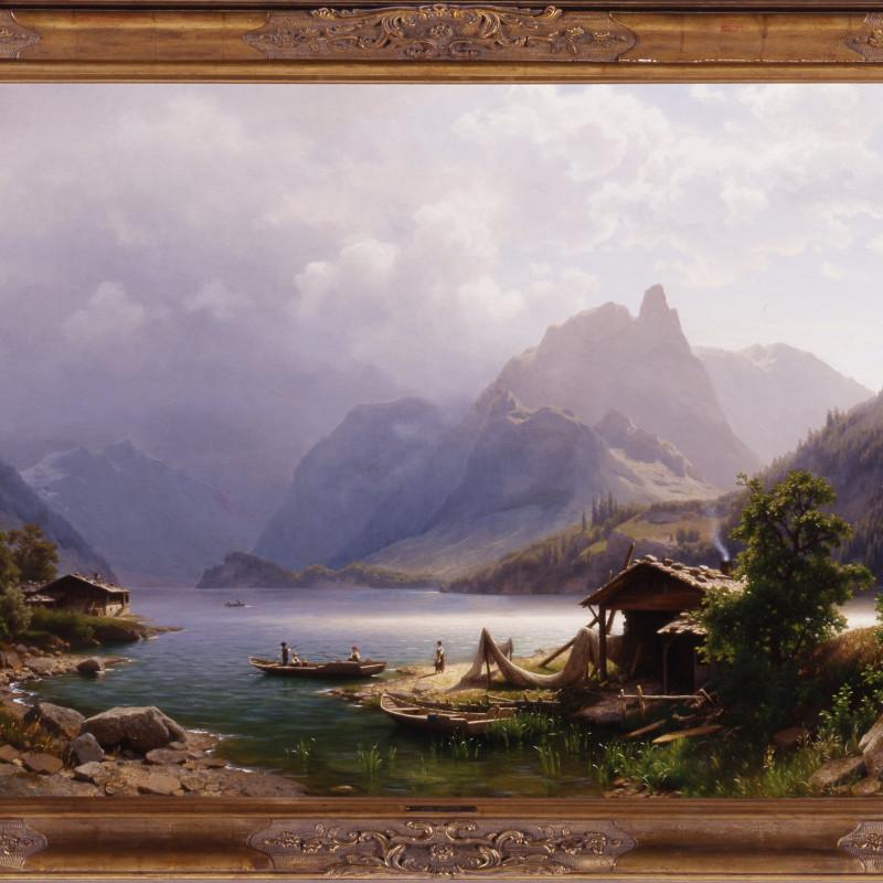"Joseph Jansen (1829-1905) - ""Swiss Alpine Scene"" by Joseph Jansen"