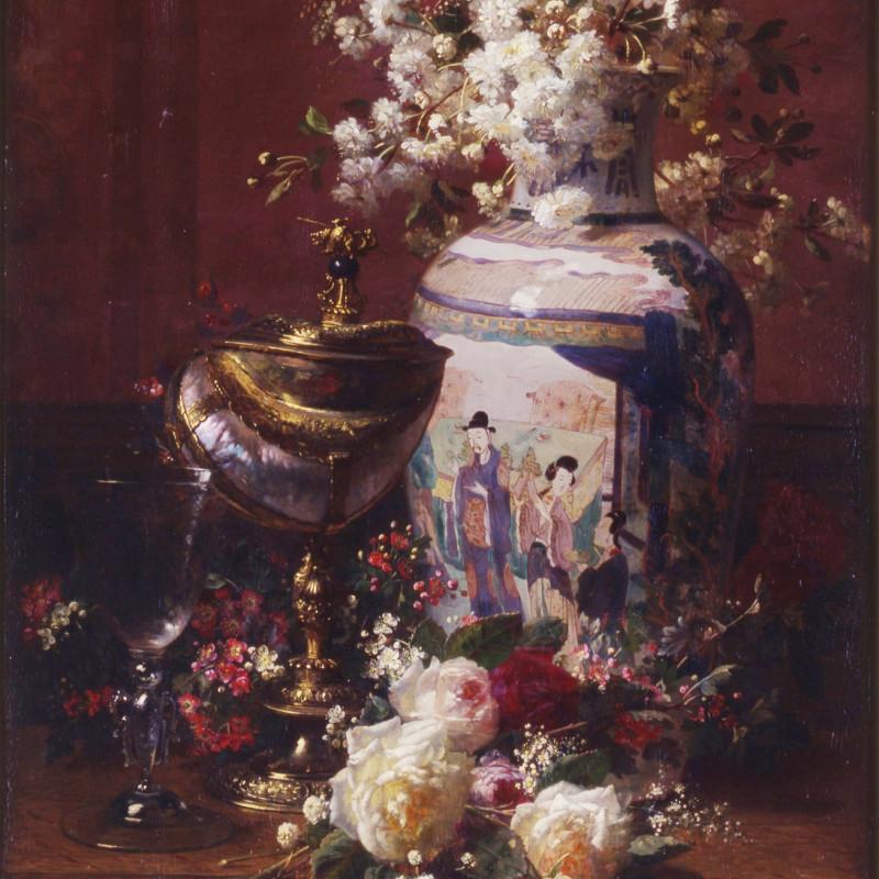 "Jean-Baptiste Robie - ""Still-life with Japanese vase"" by Jean-Baptiste Robie"