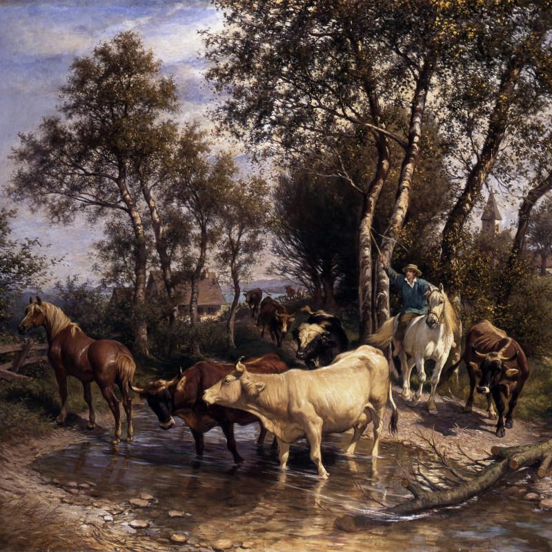 "Rudolf Koller - ""Viehherde am Bach"" by Rudolf Koller, 1890"