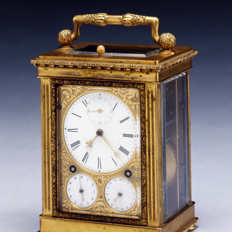 Frédéric-Alexander Courvoisier - An early nineteenth century Swiss gilt brass Grande Sonnerie carriage clock, by Frédéric-Alexander Courvoisier, Switzerland, date circa 1830-35