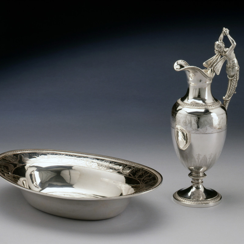 Xavier-Nicolas Goulain - An Empire engraved figural ewer and oval basin by Xavier-Nicolas Goulain