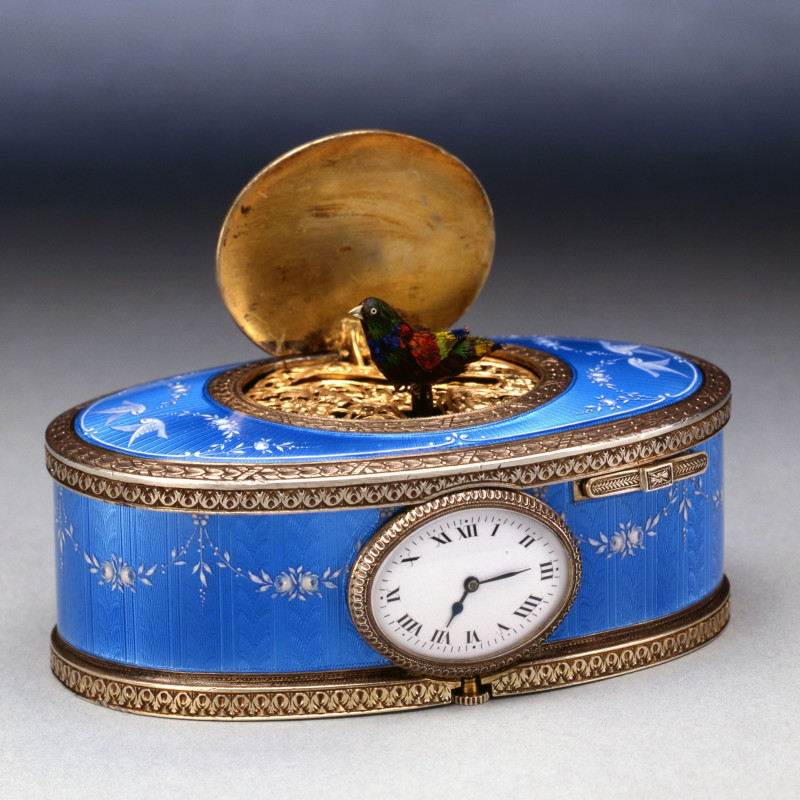 Paul Leopold Buhré - An oval singing bird box with clock, by Paul Leopold Buhré, Le Locle, Switzerland, date circa 1900