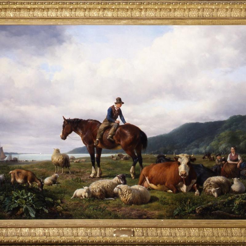 """Hendrik van de Sande Bakhuyzen - """"The Midday rest"""" by Hendrik van de Sande Bakhuyzen"""