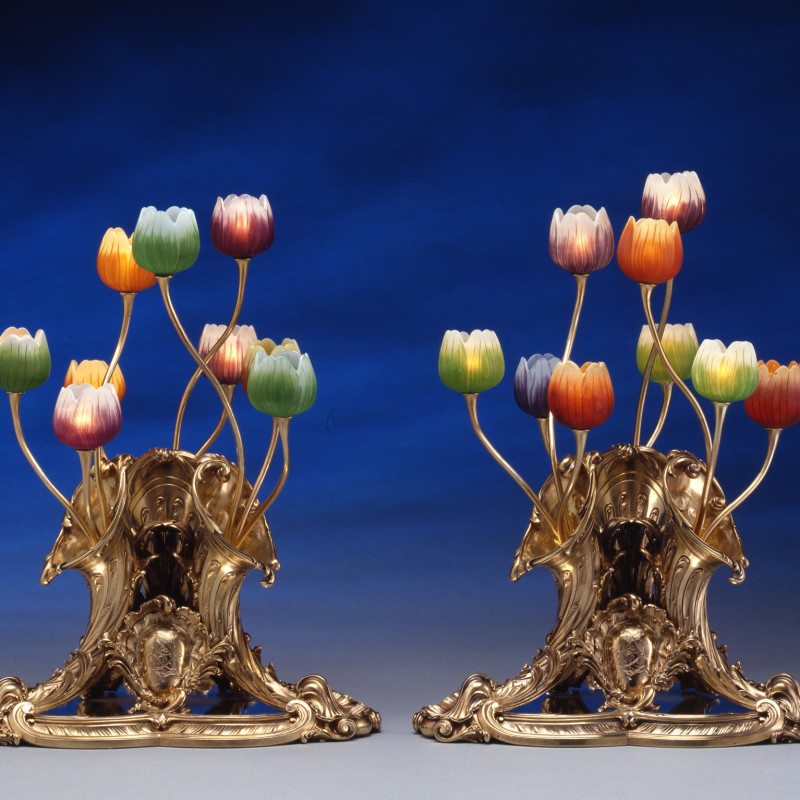 Lucien Falize, Emile Gallé - A pair of table lamps, the silver gilt bases by Lucien Falize, the glass by Emile Gallé, Paris, date circa 1895