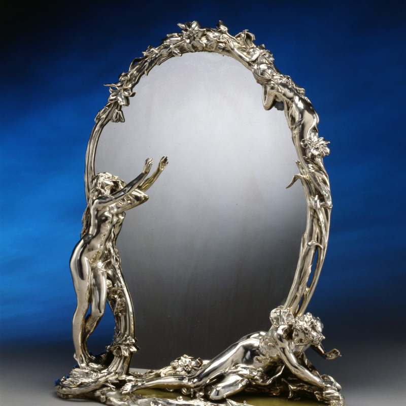 "Christofle - An Art Nouveau toilet mirror entitled ""La Métamorphose de Narcisse"" by Christofle à Paris after a model by René Rozet, Paris, date circa 1900"