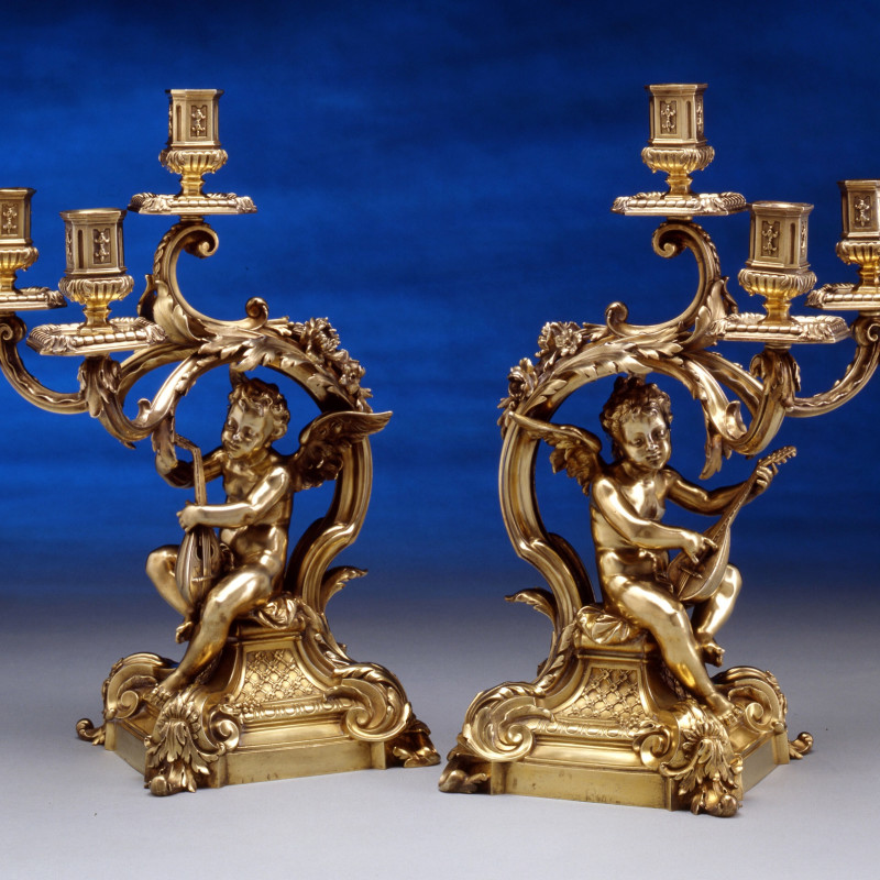 Frederick Boucheron - A pair of figural three light table candelabra, by Frederick Boucheron, Paris, date circa 1860-70