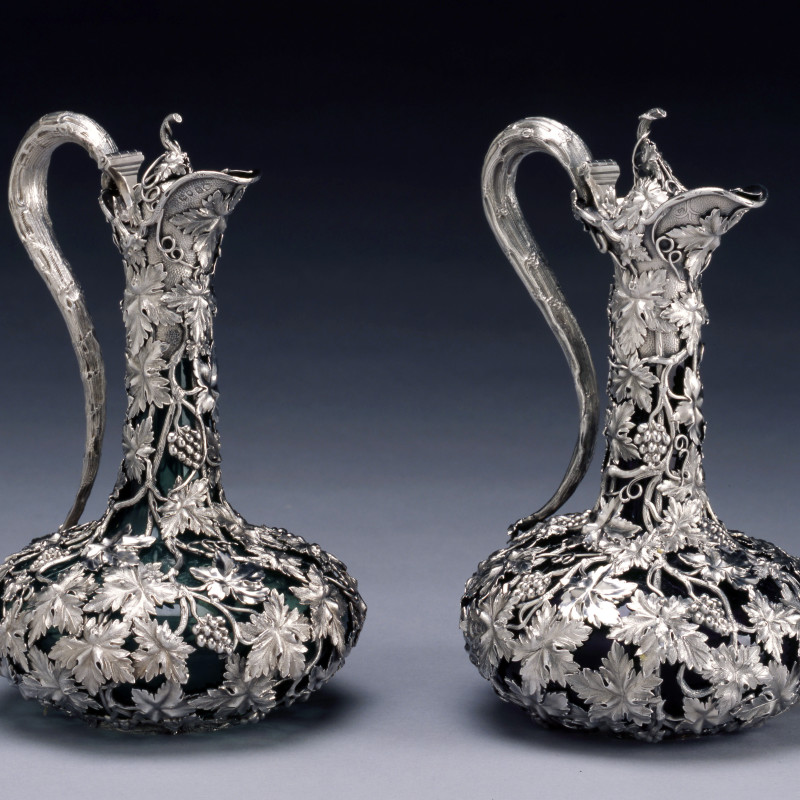 Charles Reily & George Storer - A pair of Victorian claret jugs by Charles Reily & George Storer, London, dated 1843