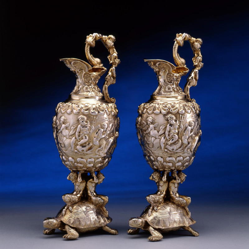 Edward Farrell - A pair of George IV ewers by Edward Farrell , London 1826