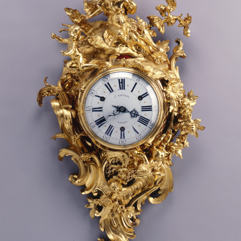 Jean-Baptiste Baillon III - A Louis XV figural cartel clock by Baptiste Baillon, enamel work by Antoine-Nicolas Martinière, Paris, dated 1745