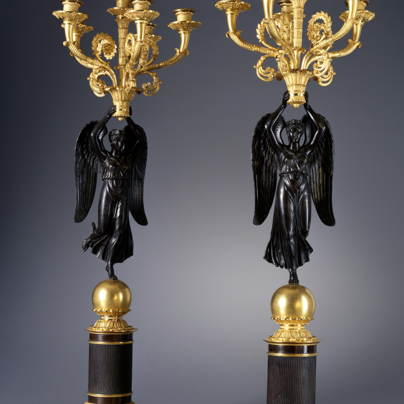 Claude Galle (attributed to) - A pair of Empire six-light figural candelabra, attributed to Claude Galle, Paris, date circa 1820