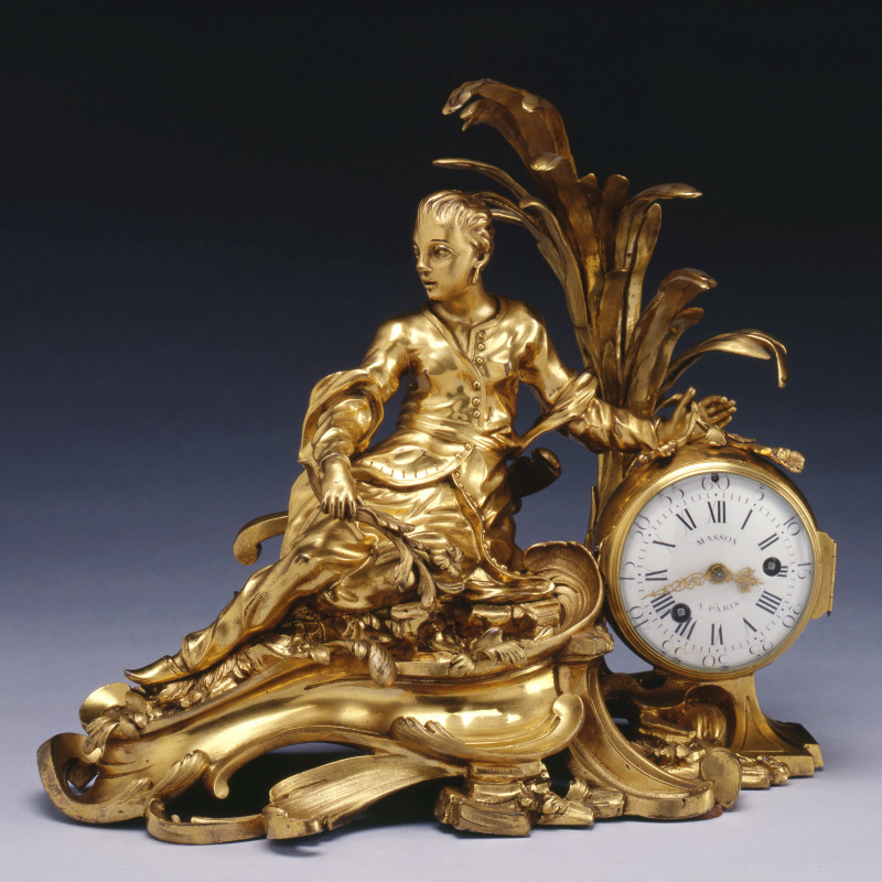 Masson - A Louis XV figural mantel clock à la Chinoise, by Masson, case attributed to Philippe Caffiéri, Paris, date circa 1766