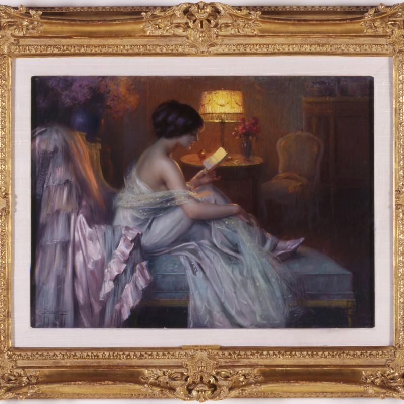 "Delphin Enjolras (1857-1945) - ""La Lecture au Clair de la Lampe"" by Delphin Enjolras"