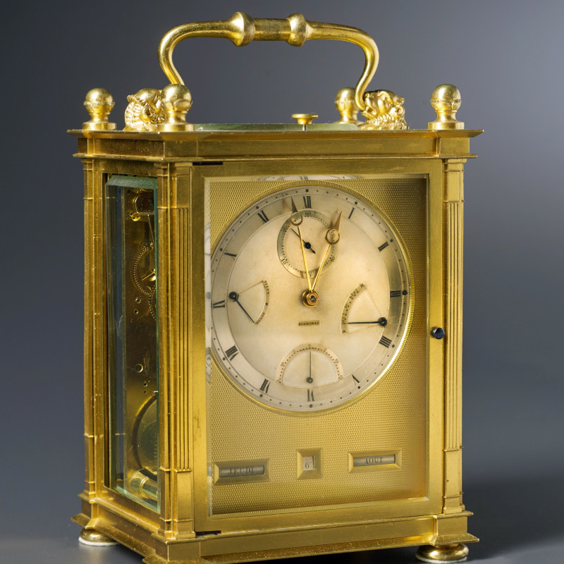 Antoine Blondeau - A Restauration grande sonnerie striking carriage clock with push repeat, calendar and equation of eight day duration by Antoine Blondeau, Paris, date circa 1825-30