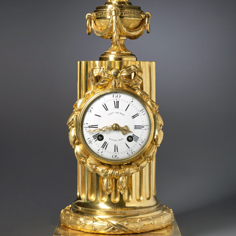 Charles Le Roy - A Louis XVI column clock by Charles Le Roy, bronze case by Jean-Baptiste Osmond, Paris, date circa 1770
