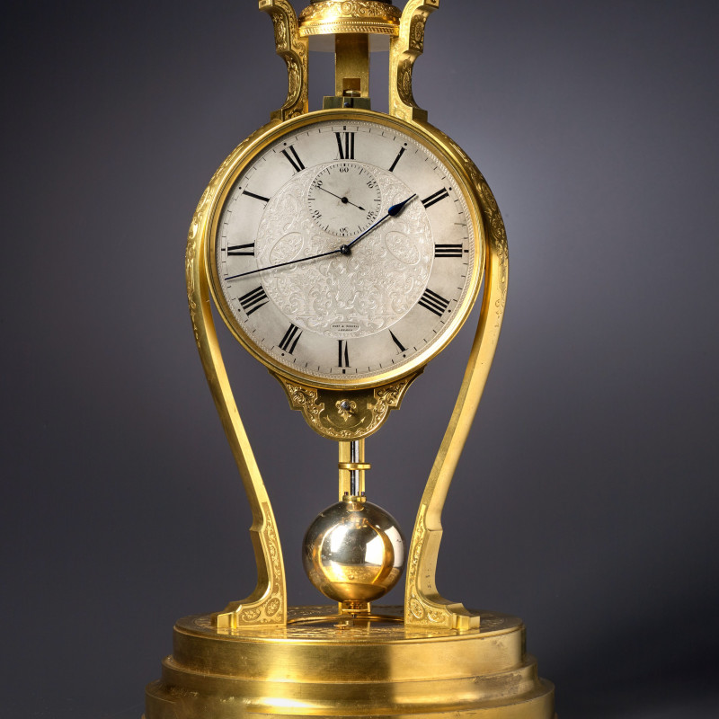 Thomas Cole - A Victorian tripod clock of one month duration made by Thomas Cole and retailed by Hunt and Roskell of London, London, date circa 1852