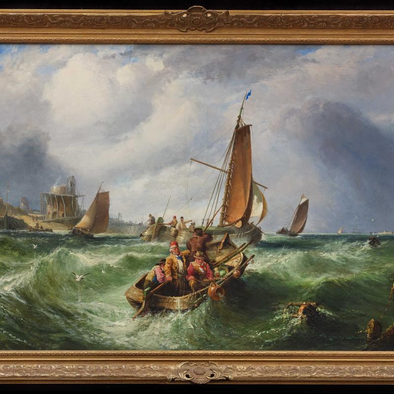 """John Cheltenham Wake - """"Fishing off the Coast"""", by John Cheltenham Wake, dated 1867"""