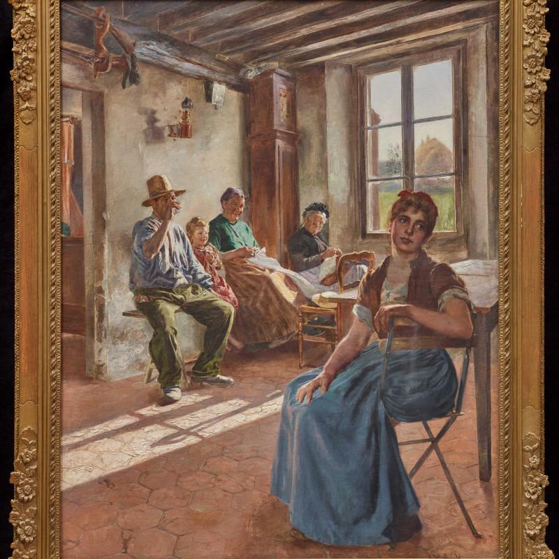"Camillo Melnik - ""A Rural Interior"" by Camillo Melnik, date circa 1890"
