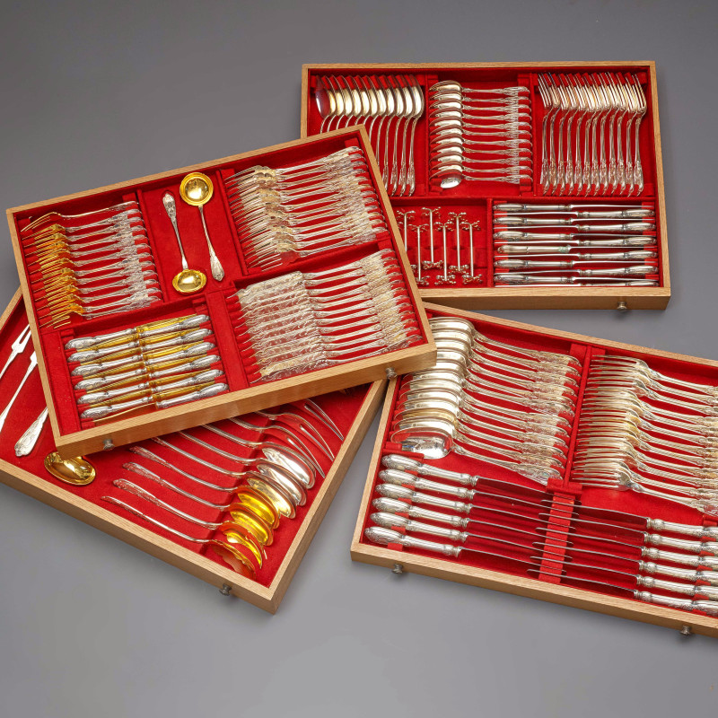 Bossard & Sohn - A Swiss early twentieth century cutlery canteen by Bossard & Sohn, Lucerne, Switzerland, dated 1906