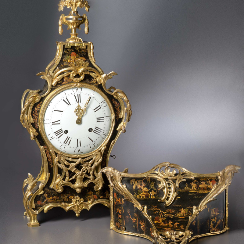 Adrien-Jérôme Jollain - A Louis XV Transitional Louis XVI grande cartel clock with bracket housed in a case by Adrien-Jérôme Jollain, Paris, date 1765-75