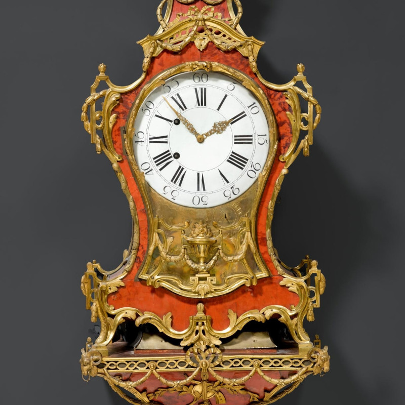 Josue Robert et Fils - A 18th Century Neuchâel Swiss eight tune musical pipe organ and quarter striking wall clock with bracket by Josue Robert, La Chaux de Fond, date circa 1770