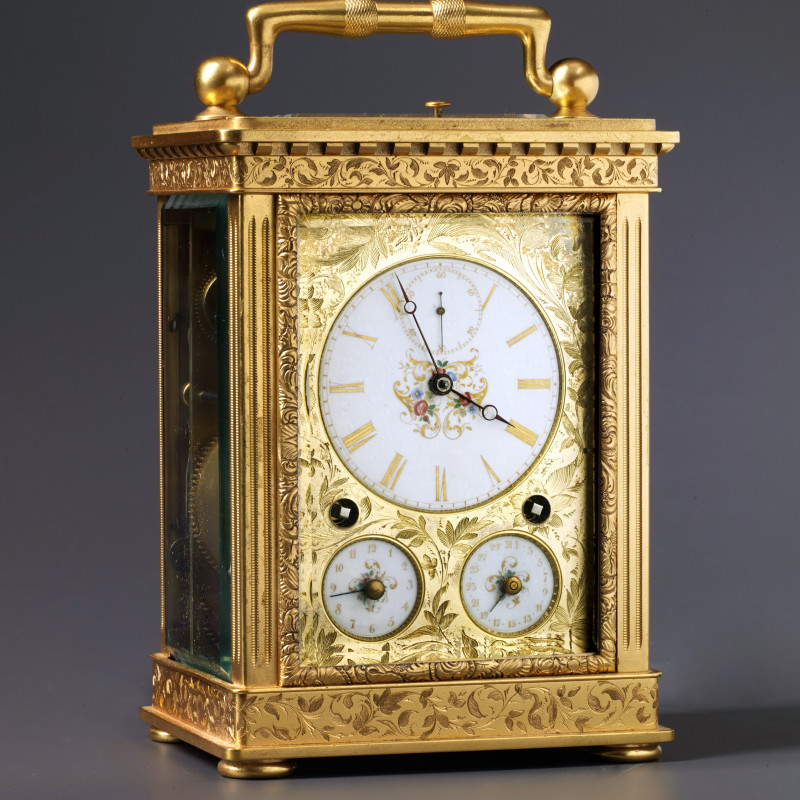 Peter Girard - A Swiss Grande Sonnerie carriage clock, La Chaux-de-Fonds, date circa 1850